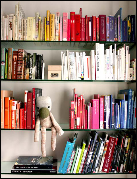 colored bookshelf