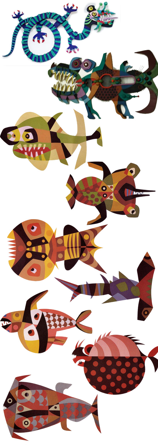 cesar manrique fish drawings snake dragon