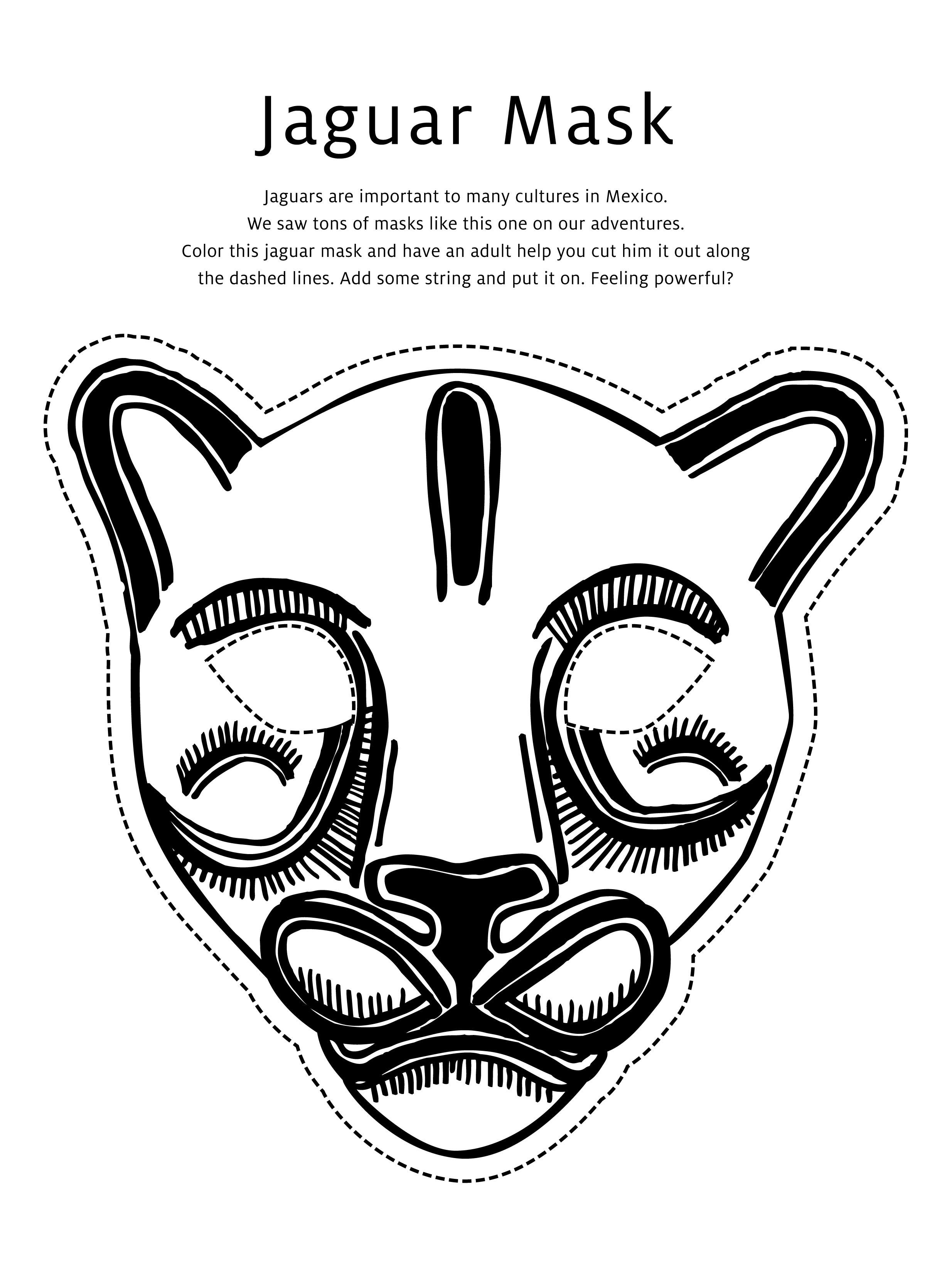 Coloring pages of jaguars printable - Jaguar Masks Colouring Pages 2469x3300