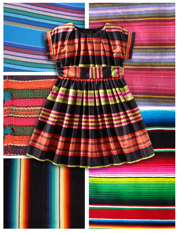 sarape blanket inspired Mexican striped dress