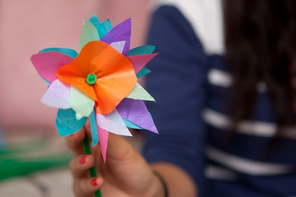 a complete tissue paper flower