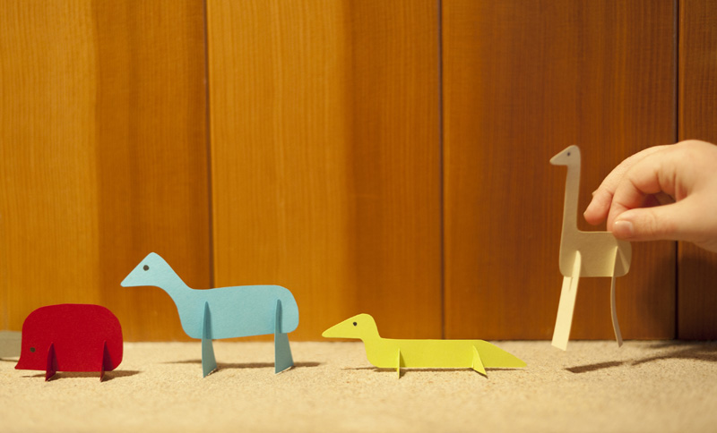 Paper slotted animals