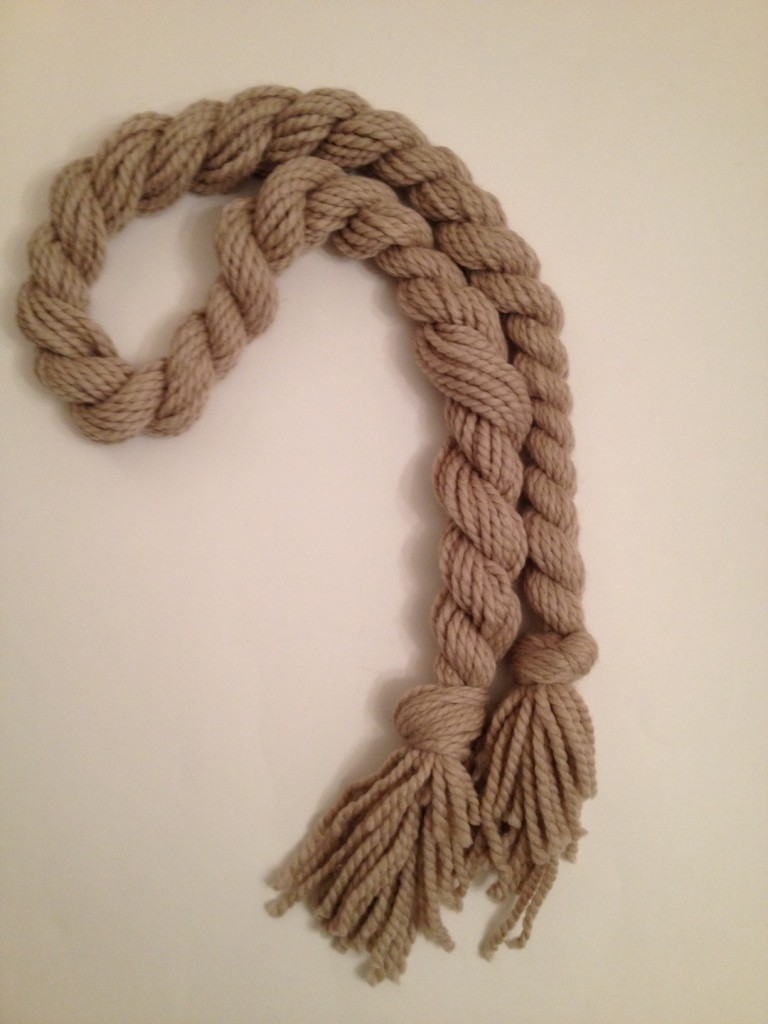 A finished twisted scarf.