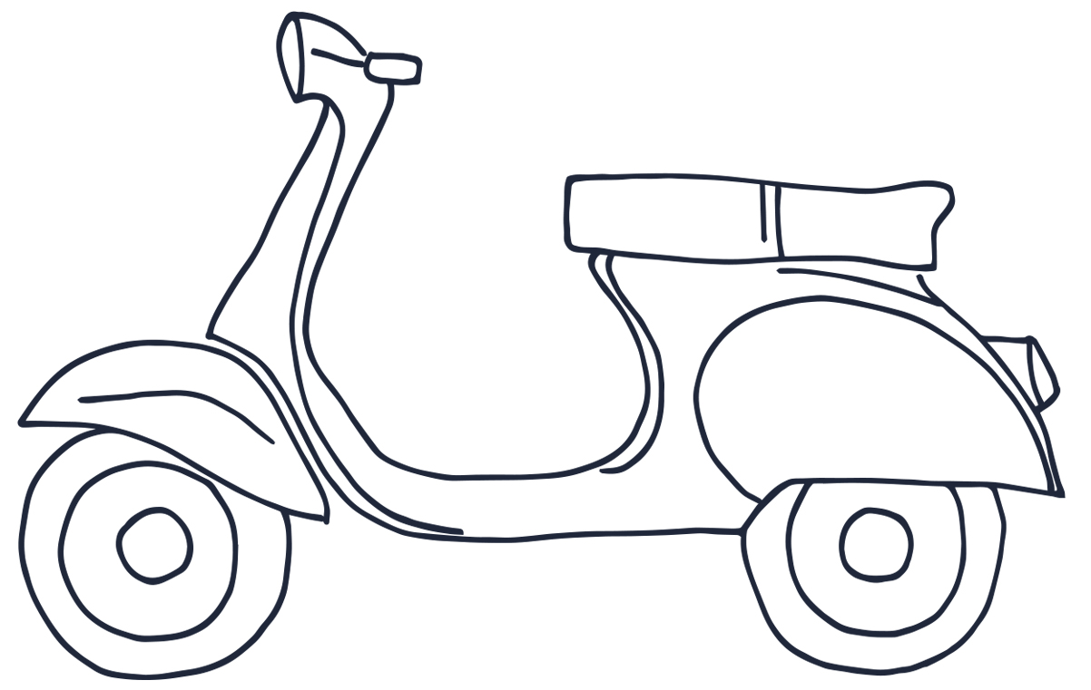 download our scooter coloring page and picture perfect to color in cut out